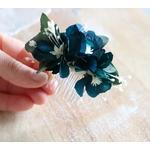 peigne fleurs bleus