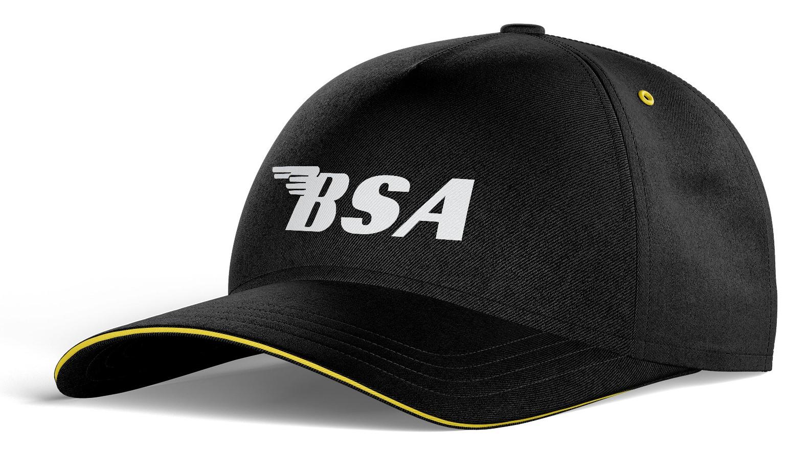 Casquette Coton BSA Noir Jaune Blanc