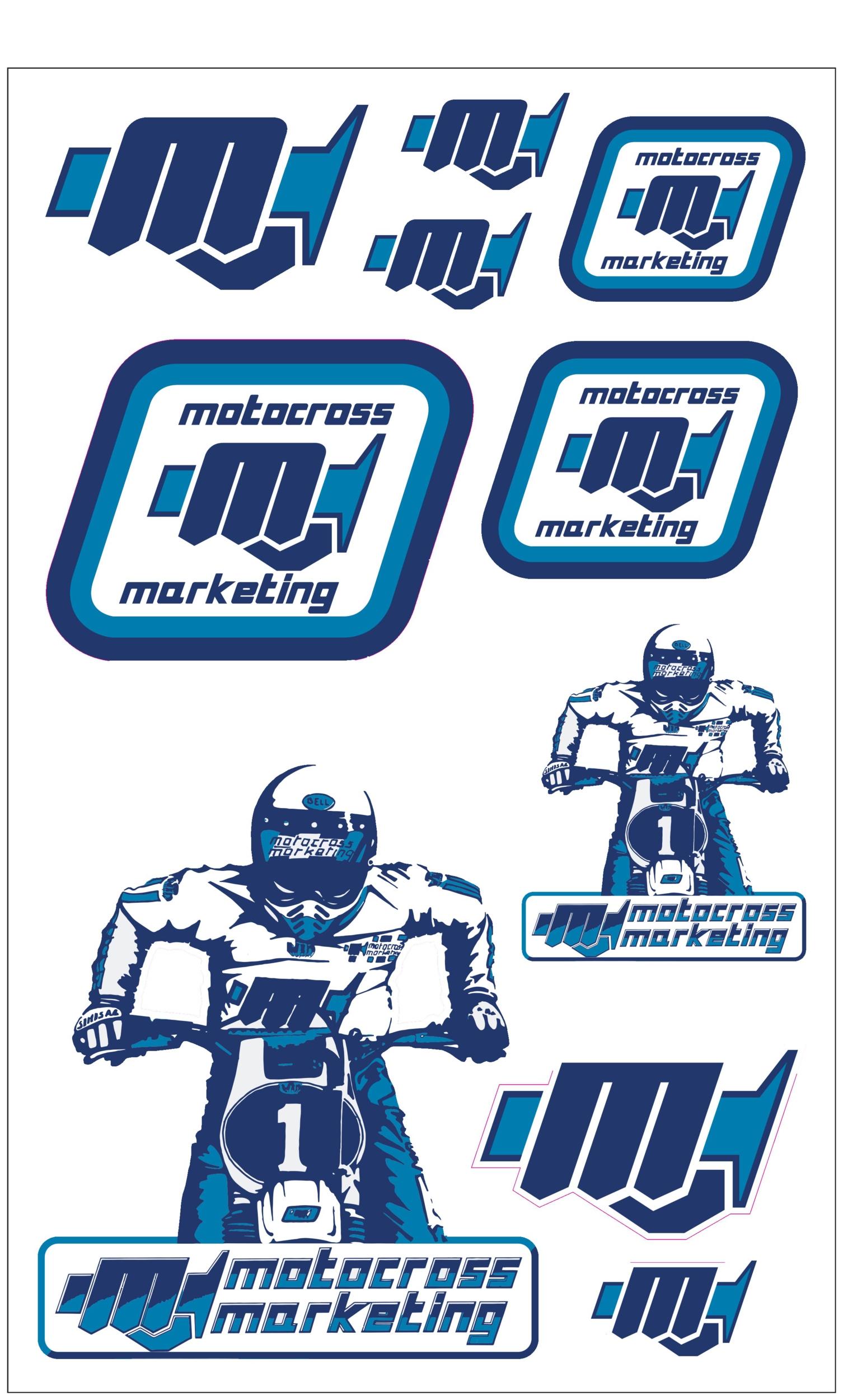 10 Stickers MXM Blue / White