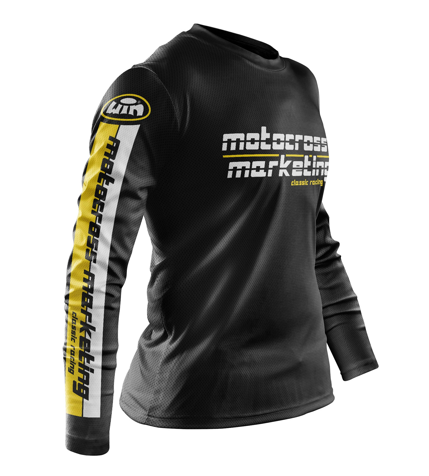Maillot MXM Aéré US Noir Blanc Jaune Profil