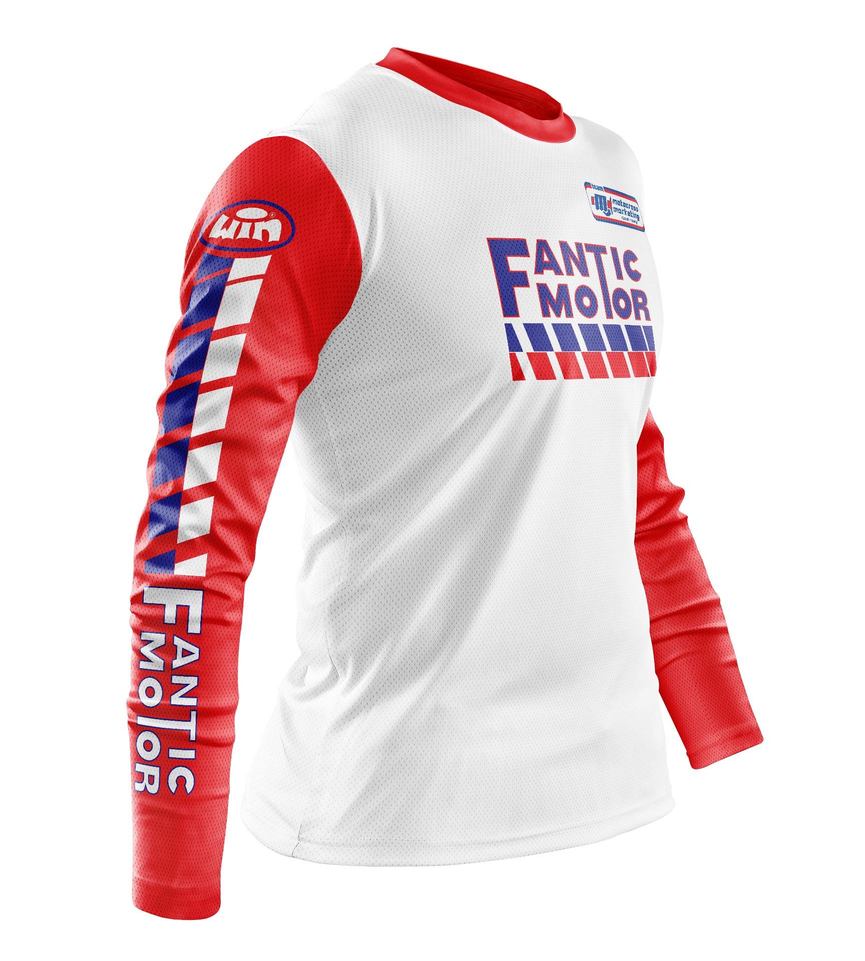 Maillot FANTIC Aéré Blanc Manches Rouge Profil
