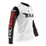 Maillot BSA Aéré Blanc Manches Noir Rouge Profil