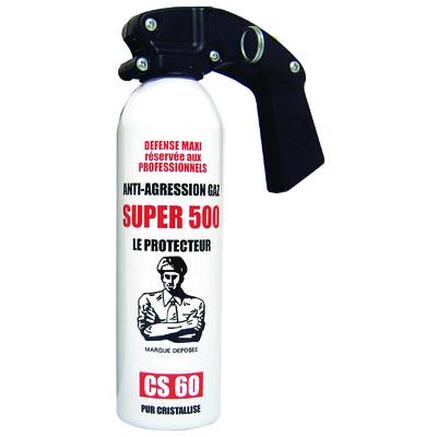 Bombe lacrymogène gaz cs 500 ml longue portée