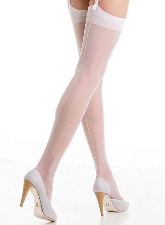 bas porte-jarretelles blanc avec ligne couture 20 deniers FiORE MARLENA