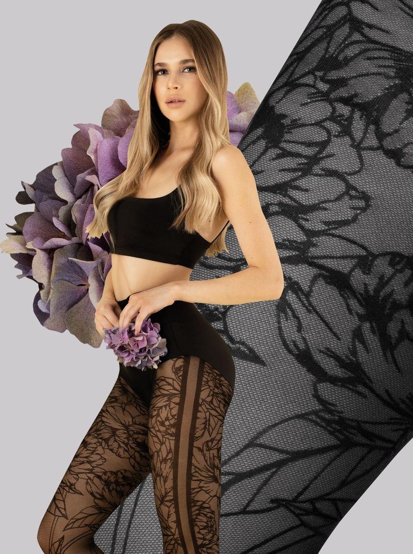 collant noir floral fiore lush garden