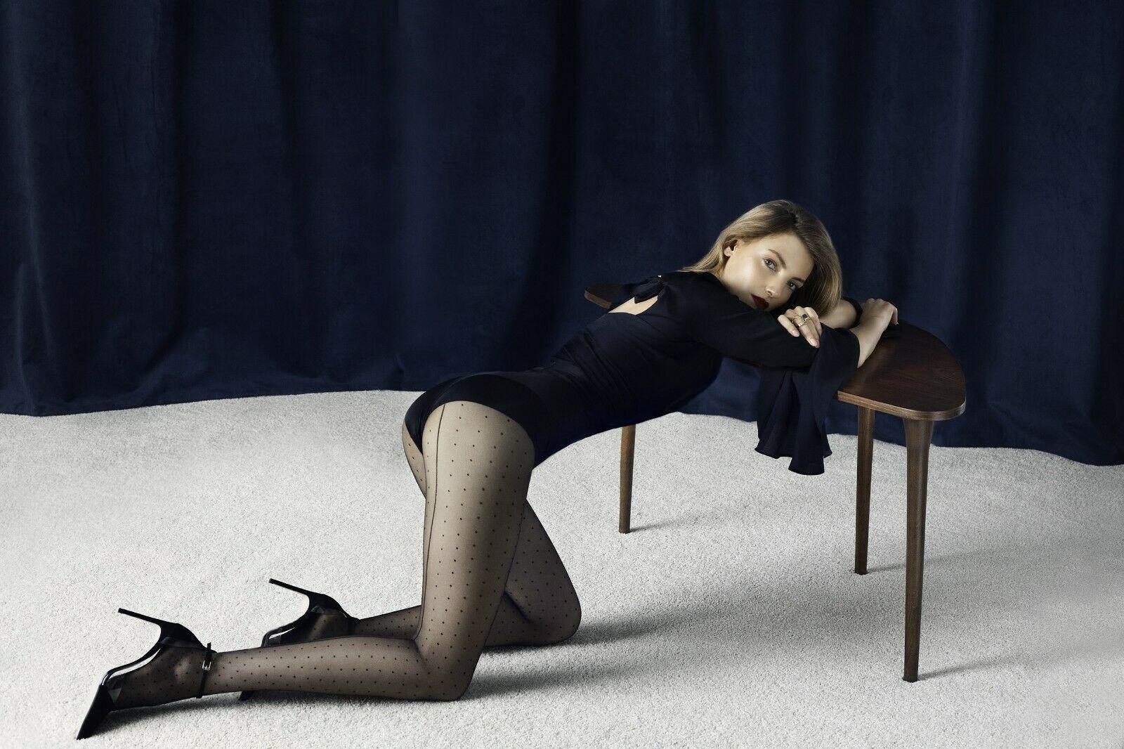 Collant 20den noir avec motif à pois et ligne couture