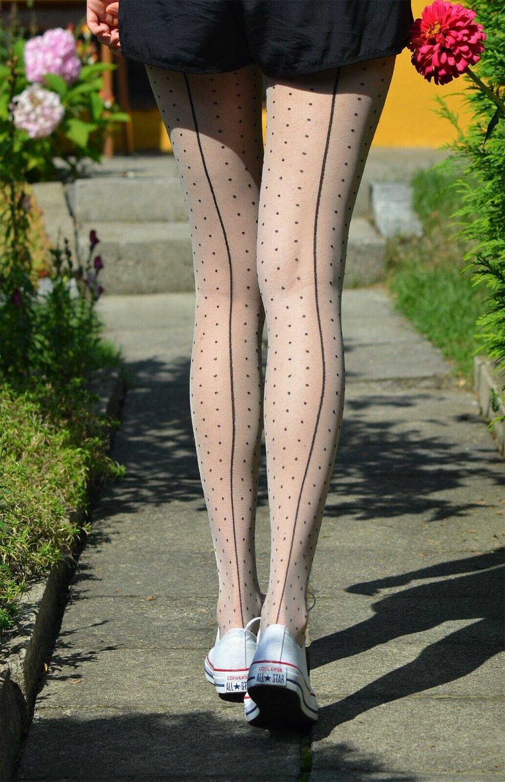 Collant 20den noir avec motif à pois et ligne couture fiore intrigue