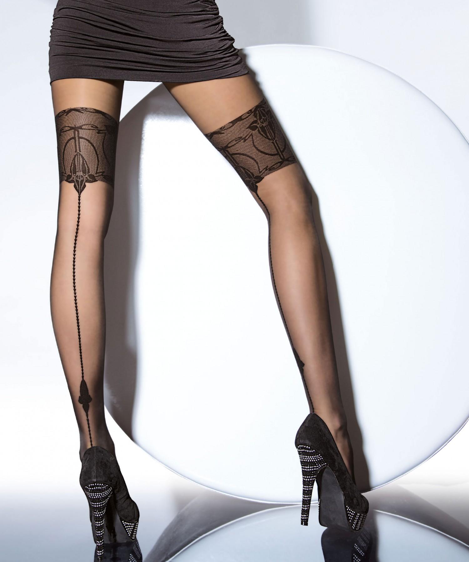 collant sexy avec bande couture noir 20 deniers