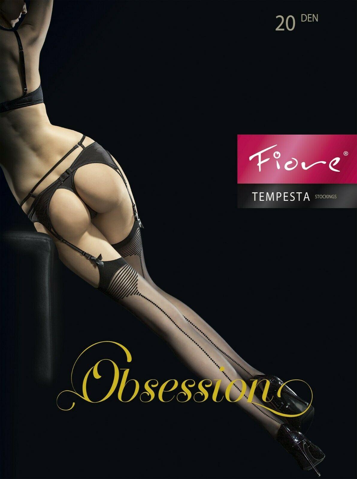 Bas porte-jarretelles sexy et glamour, avec motifs le longs des jambes