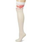 Bas porte-jarretelles blanc haut de gamme FiORE Jarretière avec motifs floraux et liserés rouges