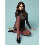 Collant opaque tendance gris à carreaux rouges fiore twist 40 deniers pour lhiver