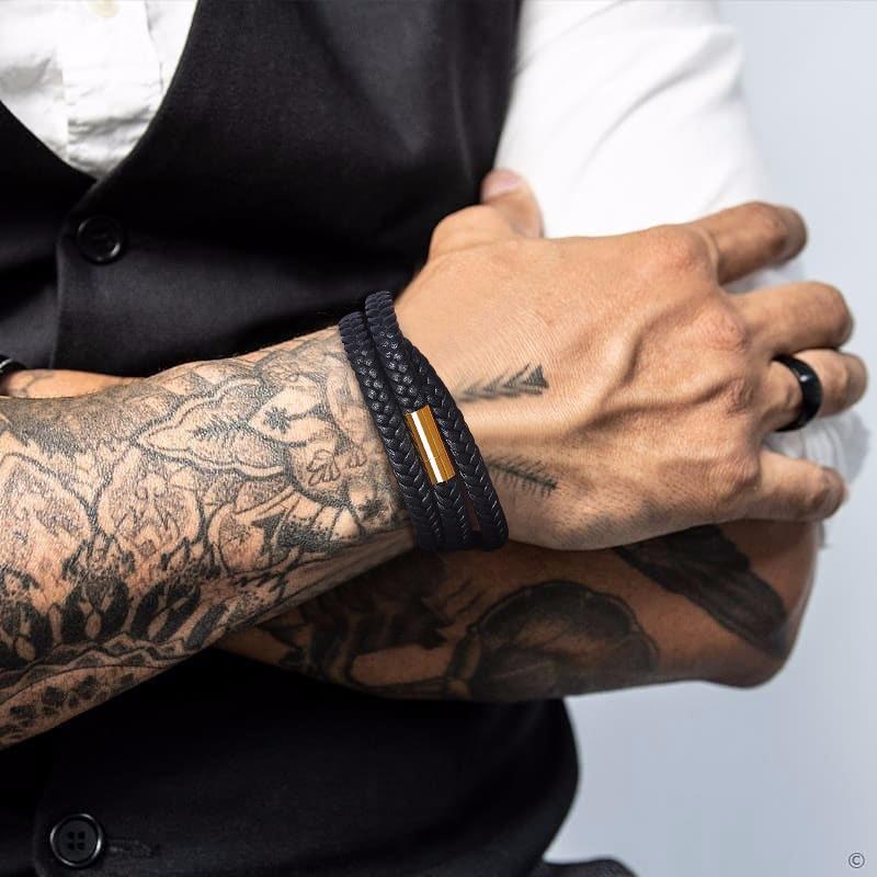 Hommes-BRACELET-hommes-cuir-armure-BRACELETS-hommes-enveloppement-noir-BRACELET-homme-bijoux-pr-sent-pour-petit