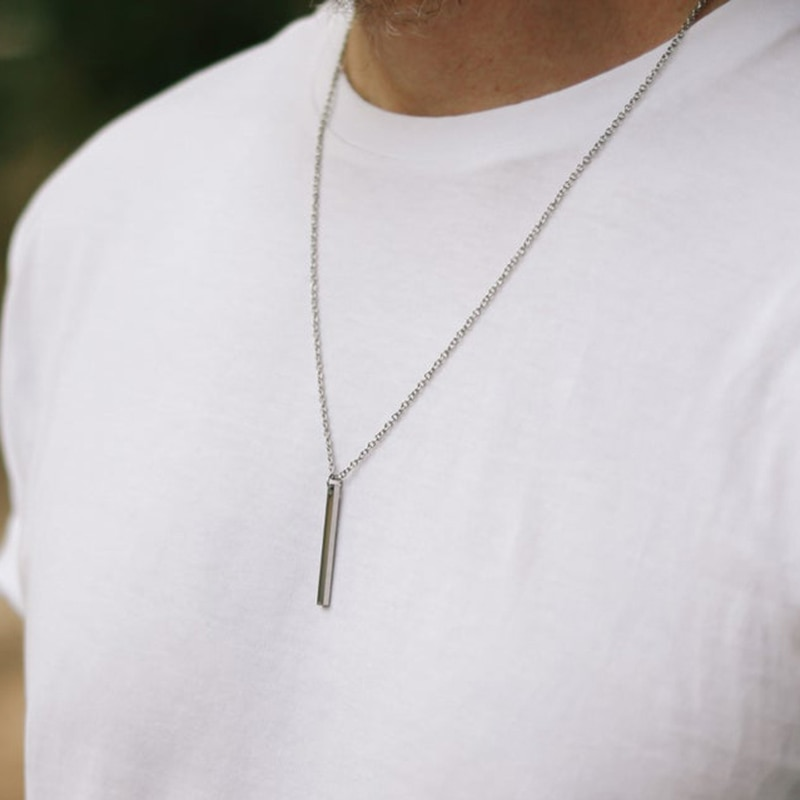 Hommes-collier-en-acier-inoxydable-collier-femmes-hommes-Simple-longue-cha-ne-rectangulaire-pendentif-collier-d