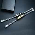Vnox-acier-inoxydable-Bracelet-hommes-Bracelet-noir-rainur-gouvernail-Silicone-maille-lien-ins-rer-Punk-Bracelet