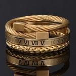 Luxe-3-pi-ces-ensemble-Bracelet-en-acier-inoxydable-Hip-Hop-hommes-bijoux-num-ro-romain