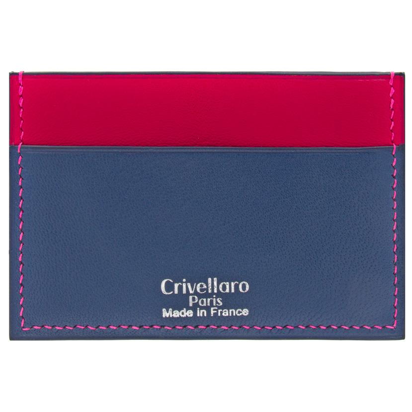 Crivellaro-Porte-carte-slim-chevre-bleu-marine-rose-1