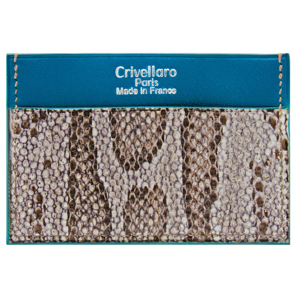 Crivellaro Porte carte python sable cuir bleu