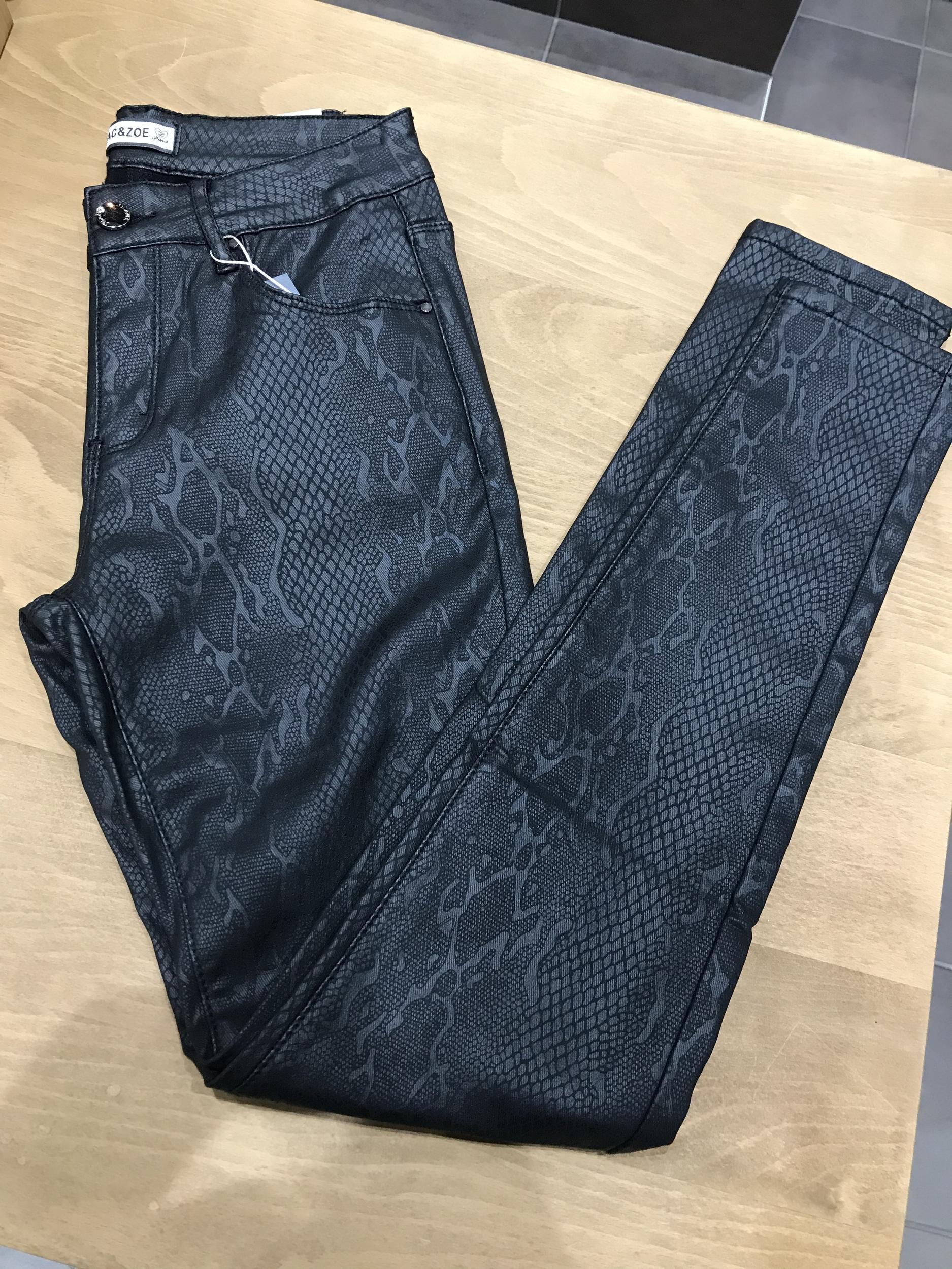 Jeans Serpent Enduit Noir