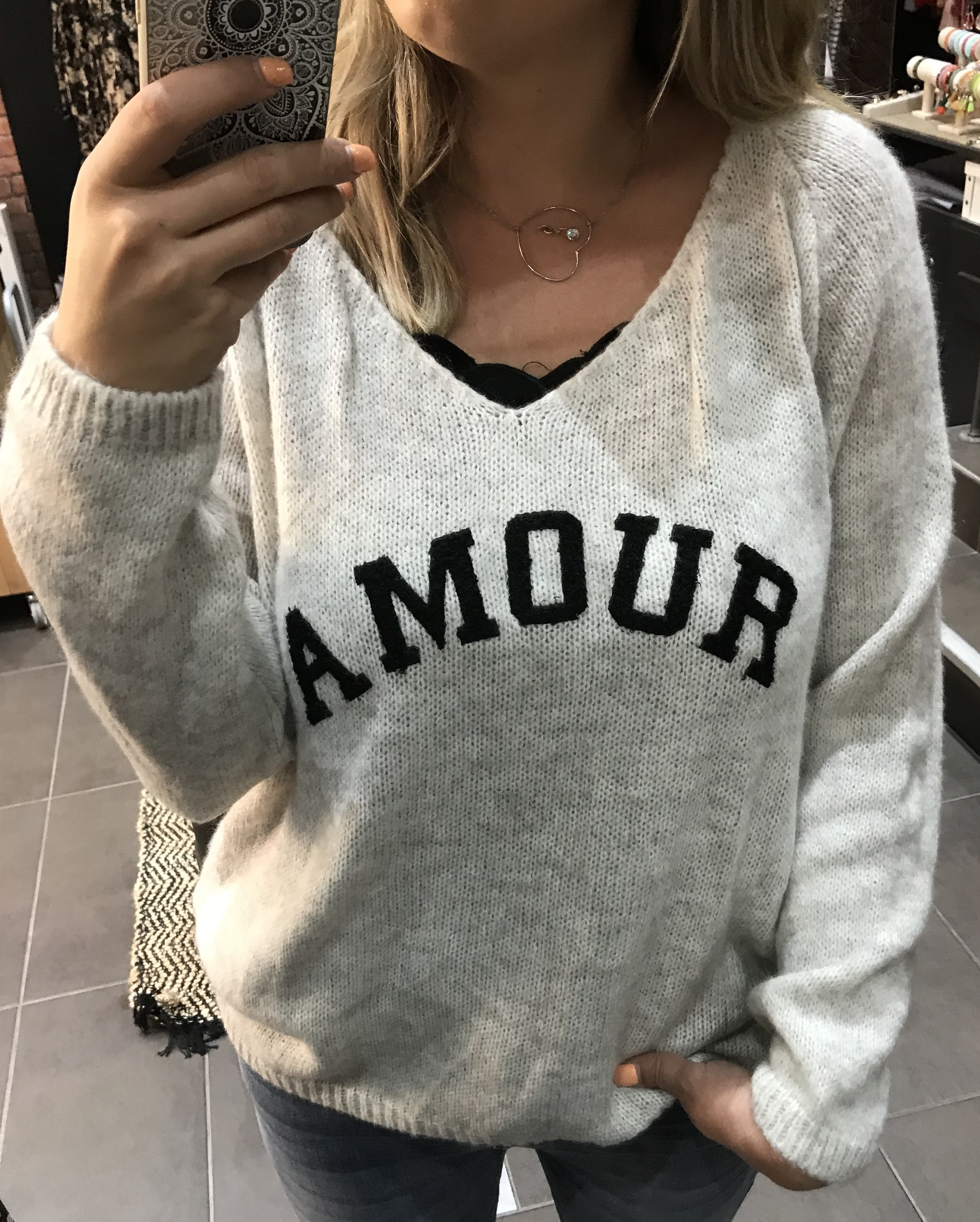 Pull Amour Beige