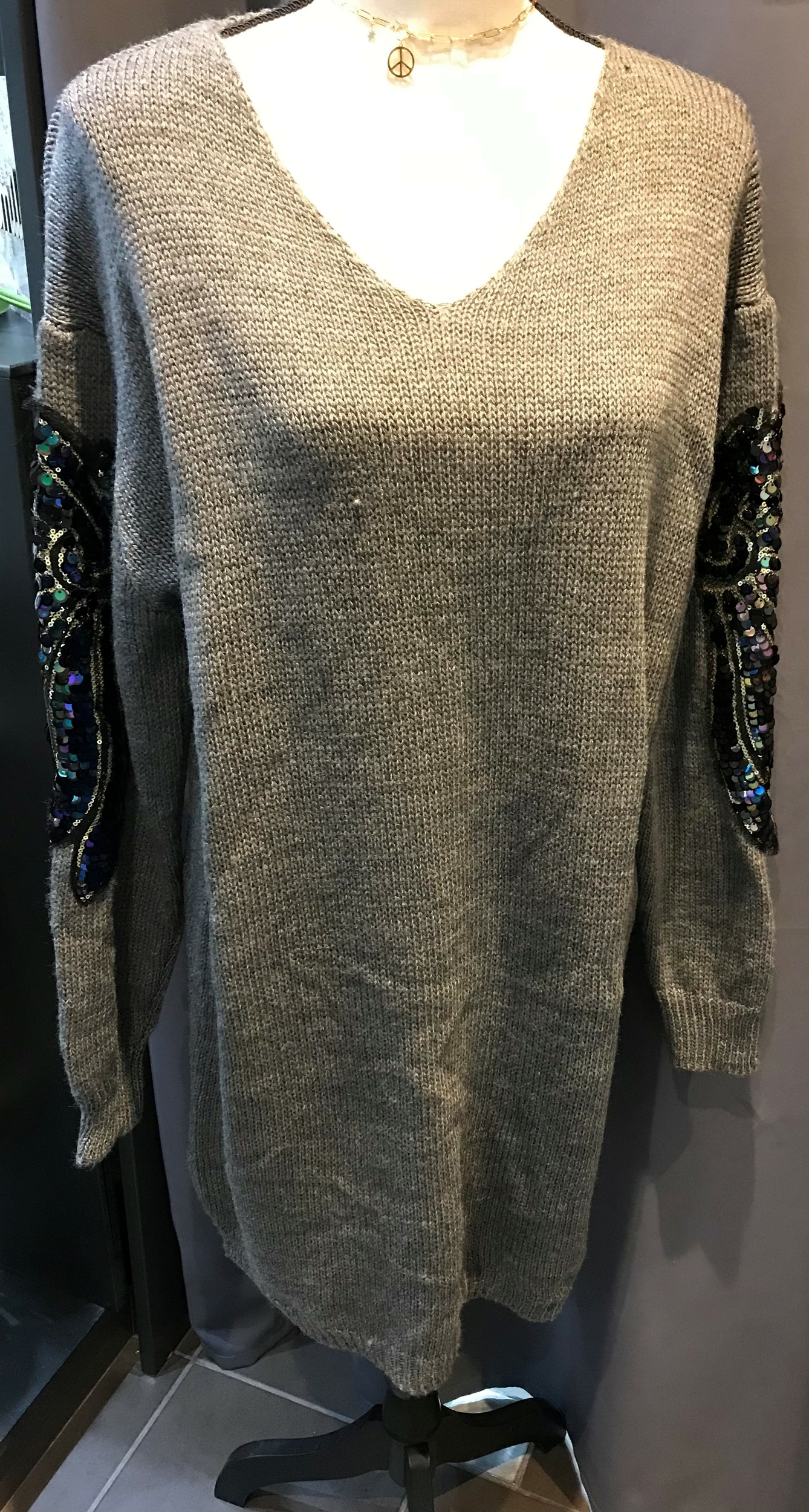 Pull/Tunique Sequin Gris