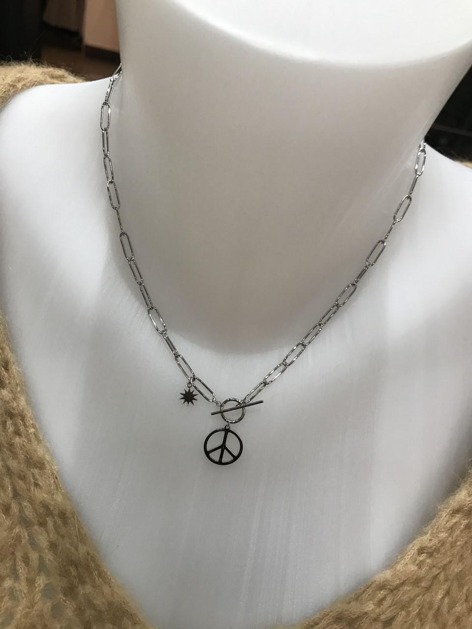 Collier Peace Argenté