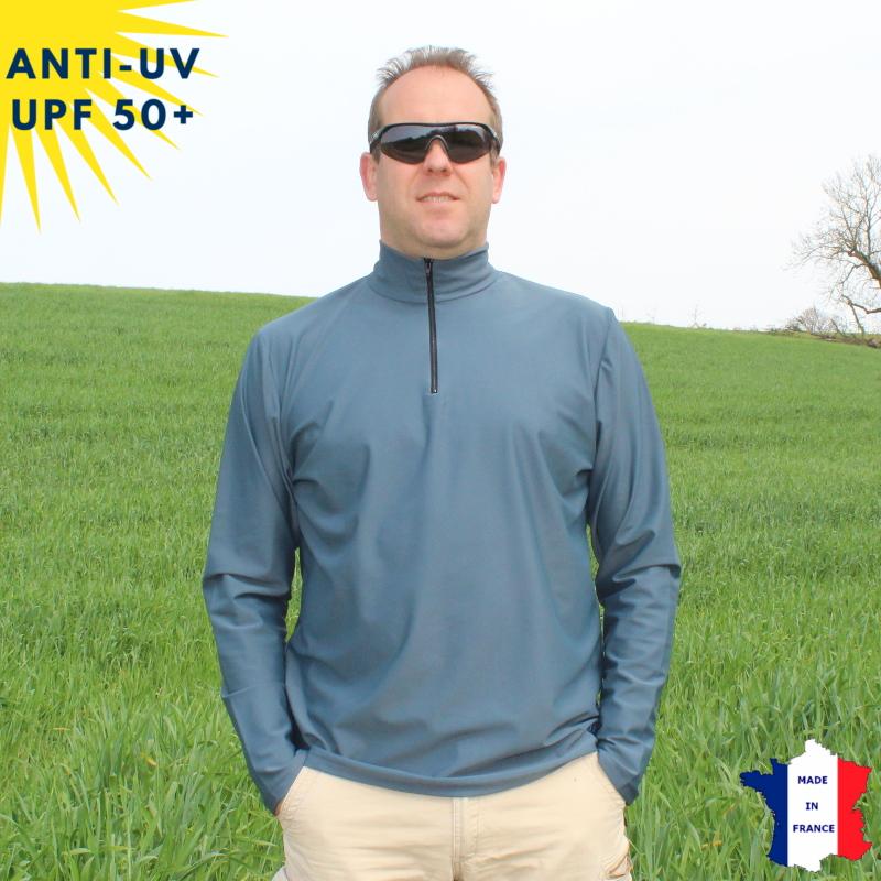 T-shirt anti-UV Col zippé Homme Anthracite UPF50+
