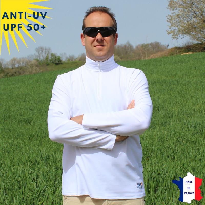 T-shirt anti-UV Homme - Col zippé - Blanc | UPF50+