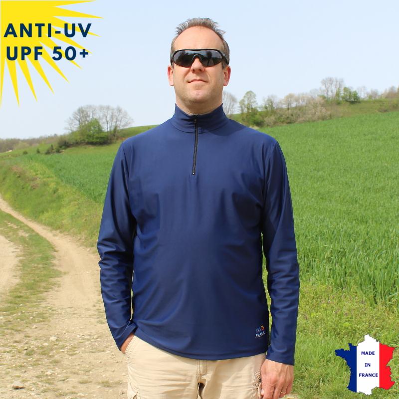 T-shirt anti-UV Col zippé Homme Marine UPF50+