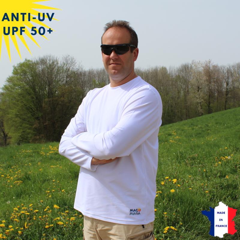 T-shirt anti-UV Homme - Col rond - Blanc | UPF50+