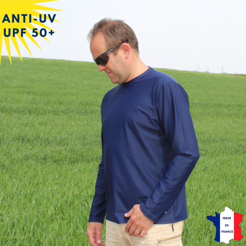 T-shirt anti-UV Col rond Homme Bleu marine UPF50+