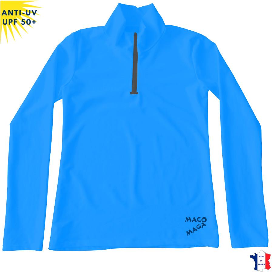 T-shirt anti-UV Col zippé ML Femme Bleu UPF50+