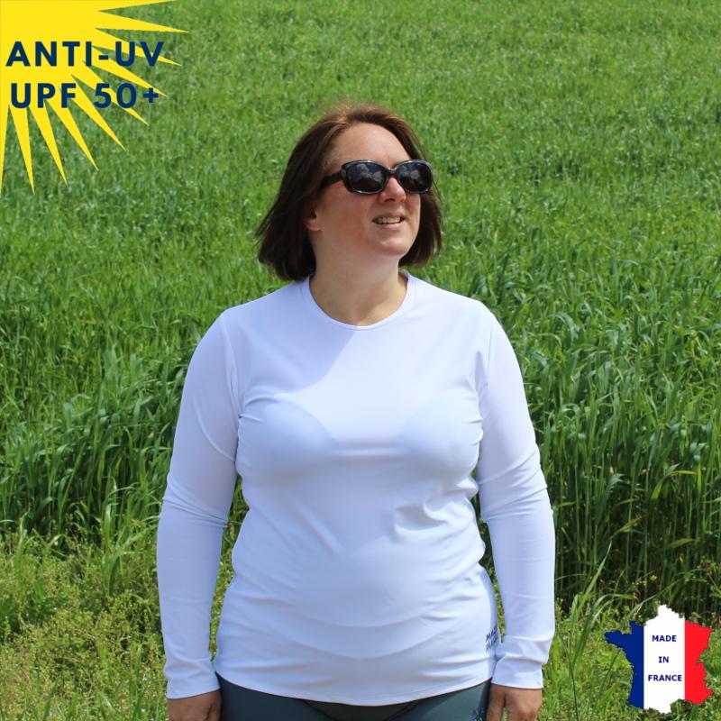 T-shirt anti-UV Col rond Femme Blanc UPF50+