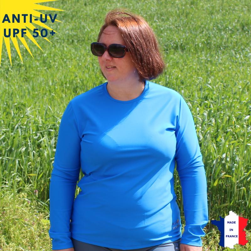 T-shirt anti-UV Femme - Col rond - Bleu | UPF50+