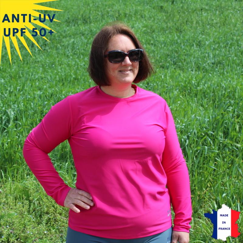 T-shirt anti-UV Femme - Col rond - Fuschia | UPF50+