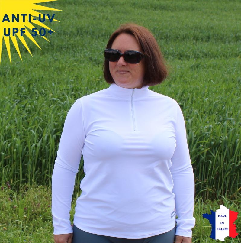 T-shirt anti-UV Col zippé Femme Blanc UPF50+