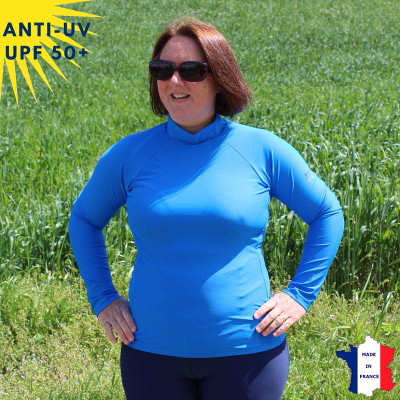 Top anti-uv Femme ML Bleu UPF50+