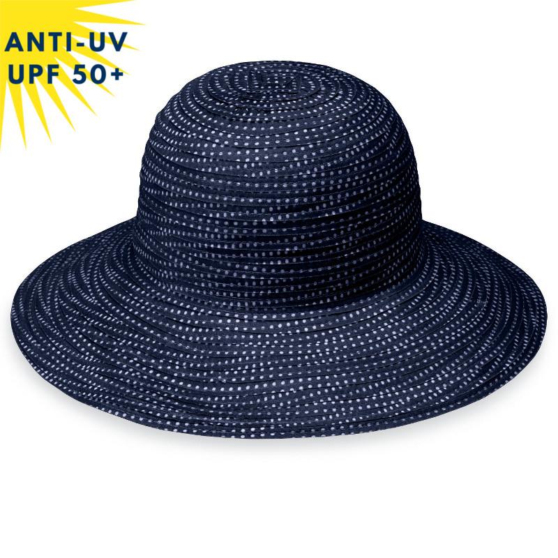 Chapeau anti-uv enfant PETITE SCRUNCHIE Bleu marine à pois blancs