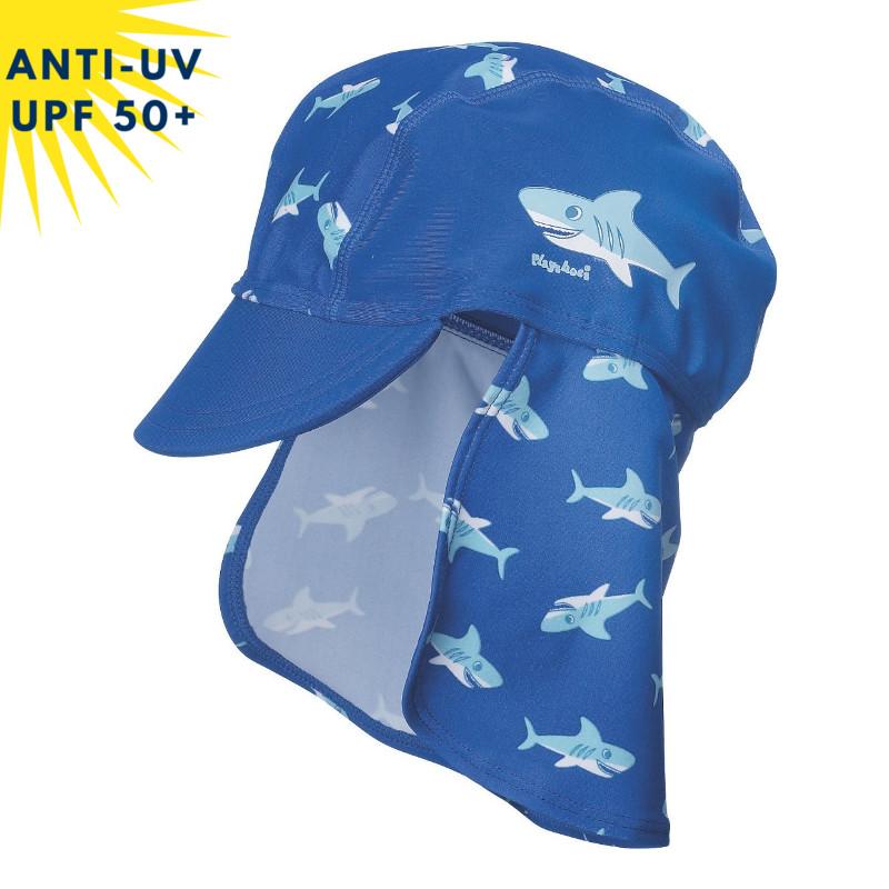 Casquette anti-uv enfant avec protection de nuque Bleu motif requin