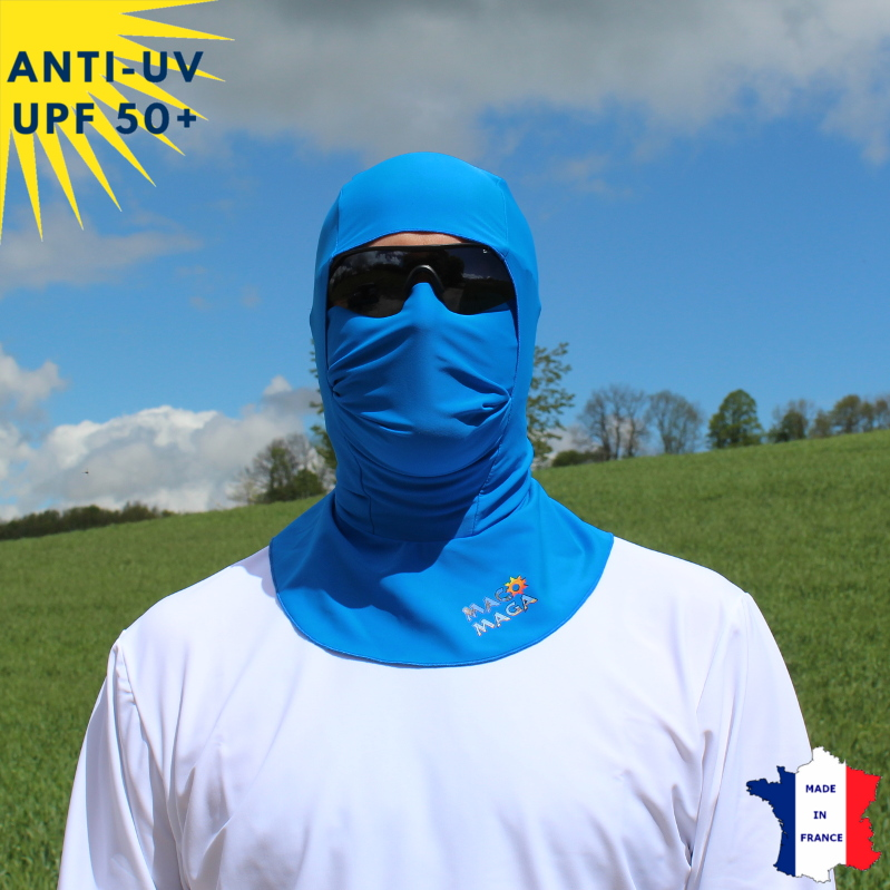 Cagoule anti-UV Unisexe sans ouverture Bleu UPF50+