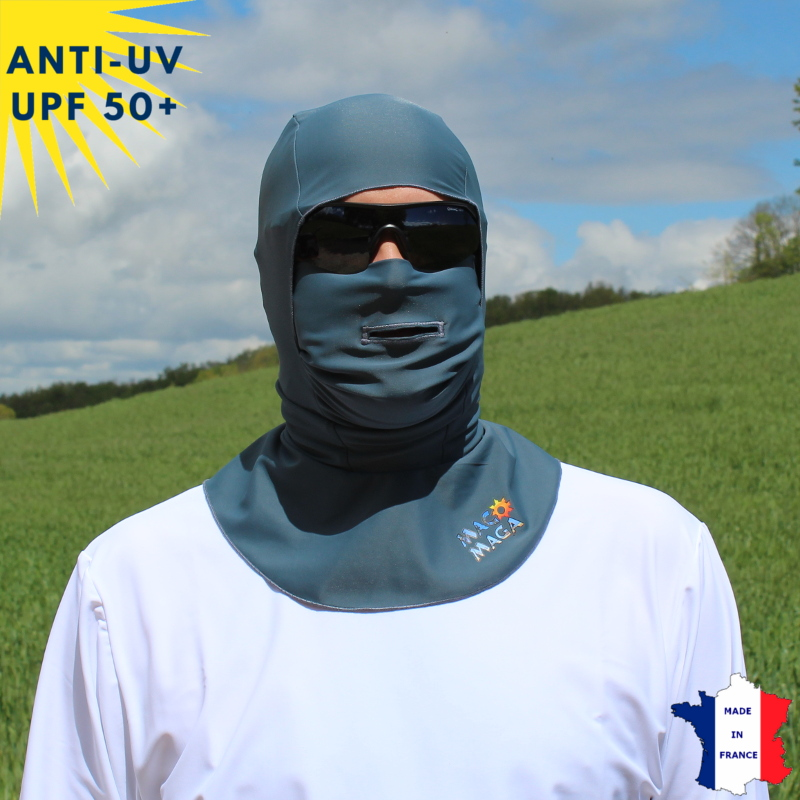 Cagoule anti-UV Unisexe avec ouverture Anthracite UPF50+