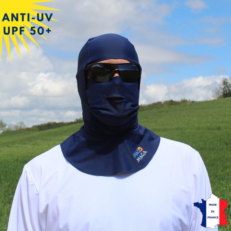 Cagoule anti-UV Unisexe avec ouverture Marine UPF50+