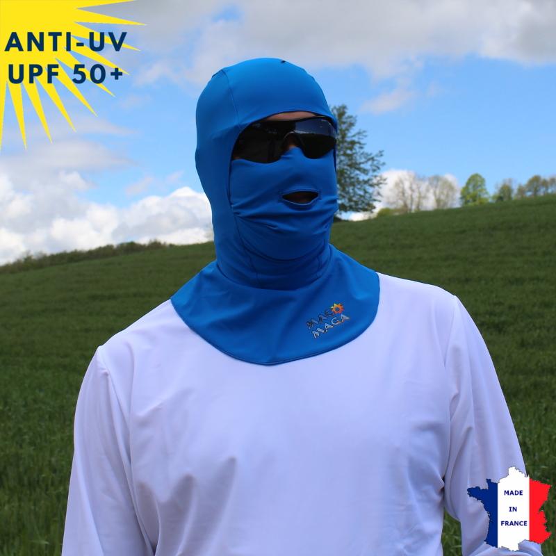 Cagoule anti-UV avec ouverture - Bleu | UPF50+