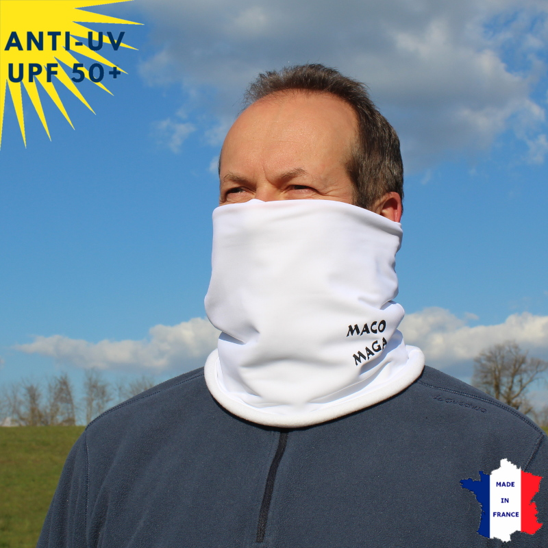 Tour de cou hiver anti-UV Blanc - A partir de 9 ans | UPF50+