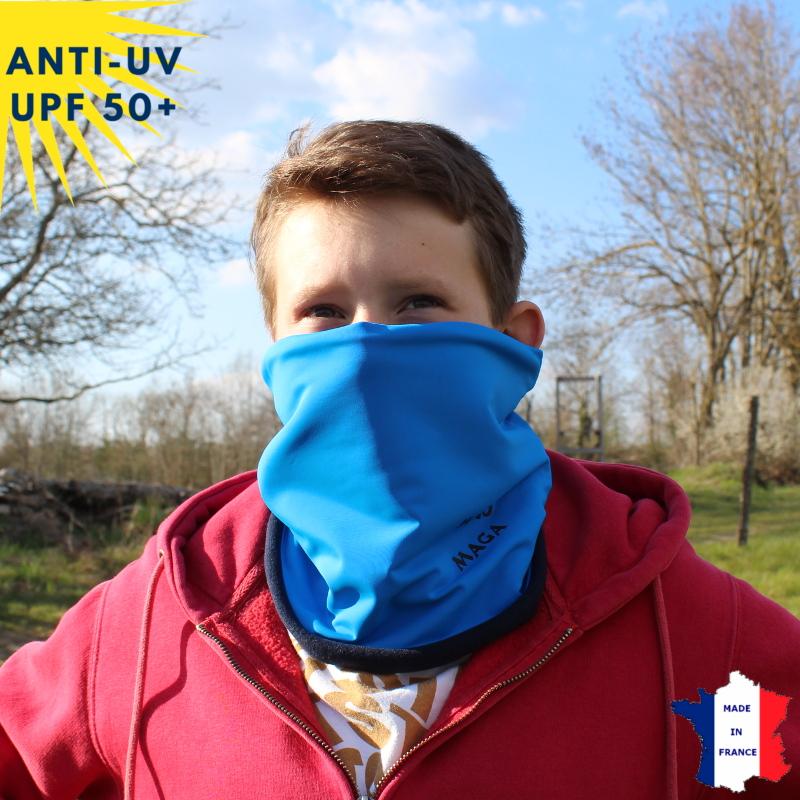 Tour de cou hiver anti-UV Bleu - A partir de 9 ans - UPF50+