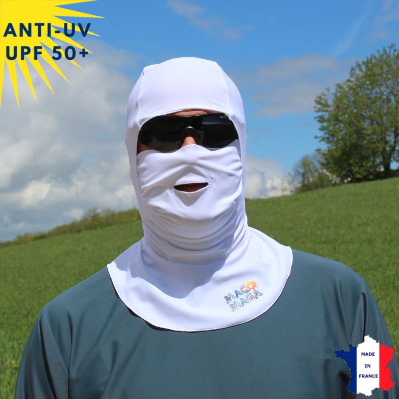 Cagoule anti-UV avec ouverture blanc