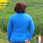 T-shirt anti-uv femme manches longues col zippé maco maga vetement anti-uv
