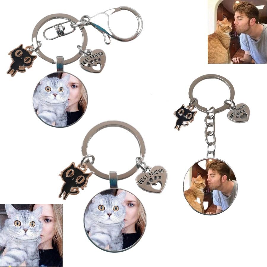 Porte-clé photo chat