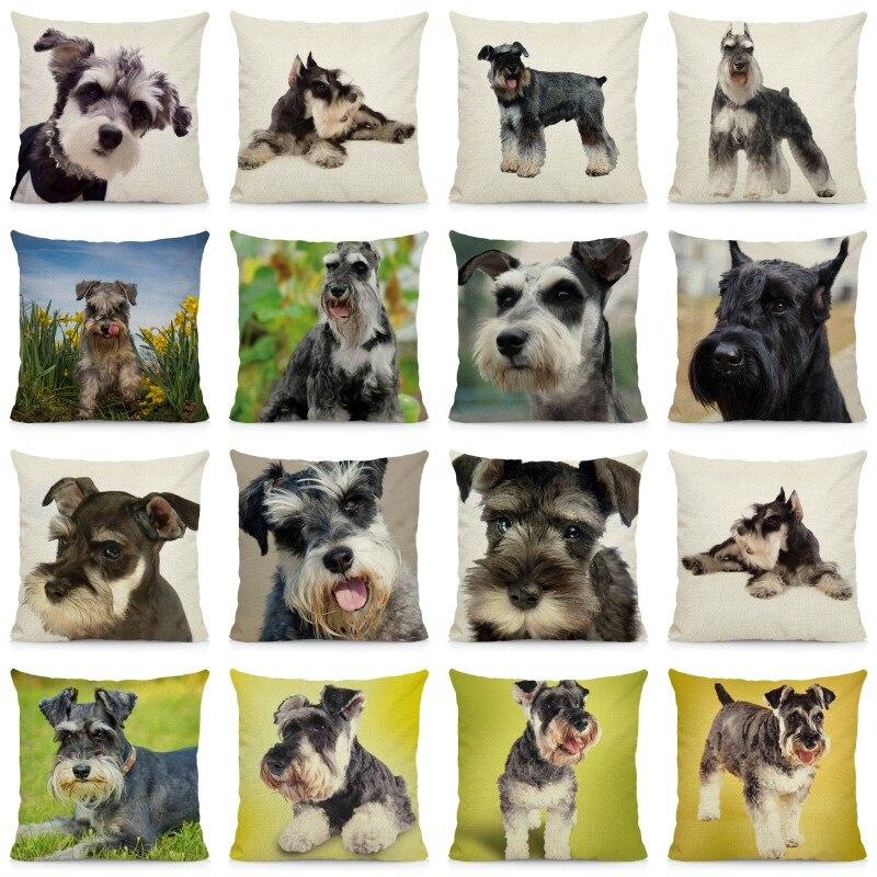 Coussin-chien-Housse-coussin-chien-Coussin-schnauzer-Coussin-motif-chien