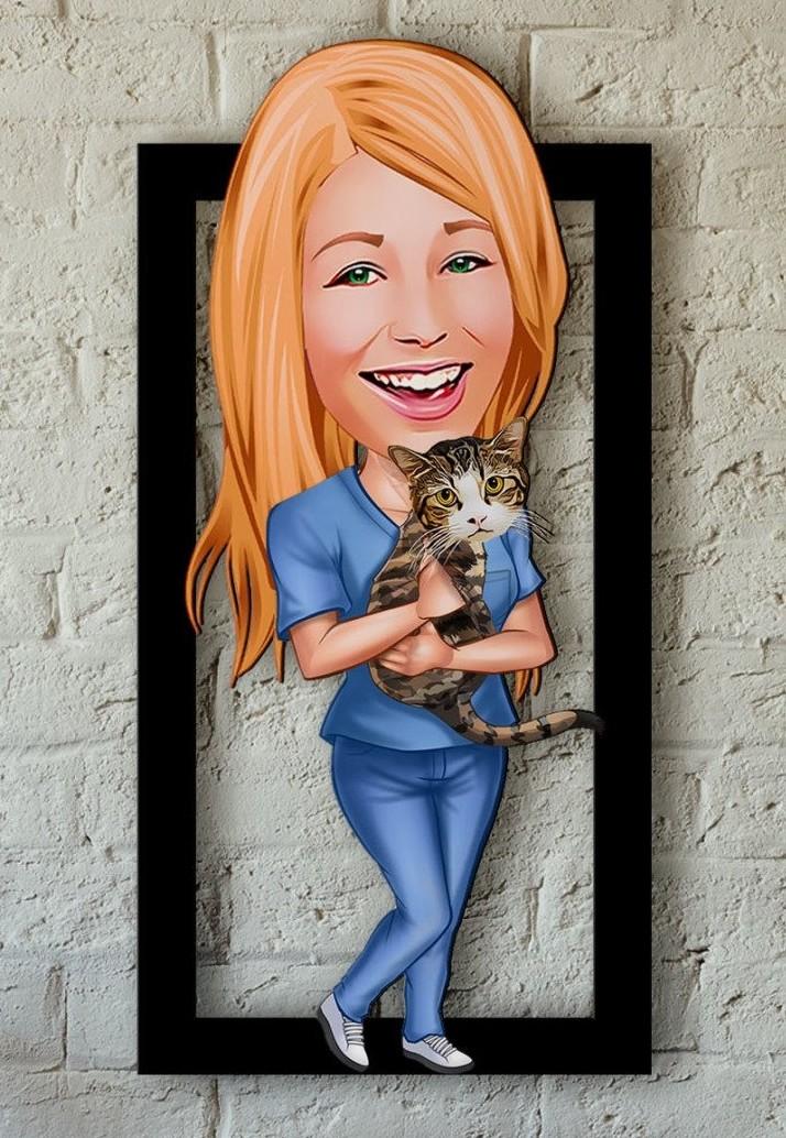 Caricature personnalisée sur bois - Femme & Chat