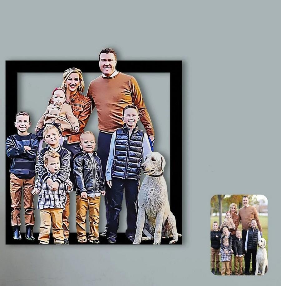 Caricature personnalisée sur bois - Famille